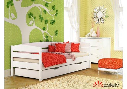 Деревянная кровать Нота Плюс цвет 107 (Белая) щит 80*190