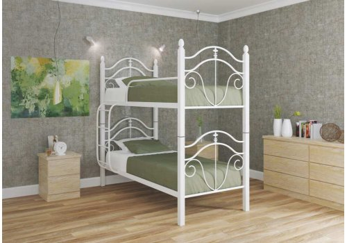 Кровать двухъярусная Диана с деревянными ногами 80х190
