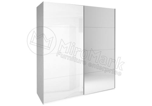 ШАФА-КУПЕ Белла 2,5м (*Двері Глянець Білий/Дзеркало*) колір Глянець Білий MiroMark