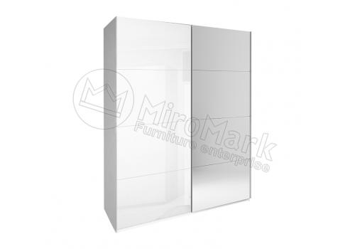ШАФА-КУПЕ Белла 1,5м (*Двері Глянець/Дзеркало*) колір Глянець Білий MiroMark