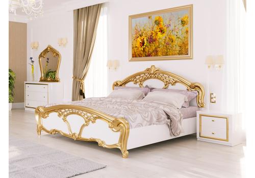 ЛІЖКО Єва 1,6х2,0 Підйомне з каркасом колір Глянець Білий/Золото MiroMark