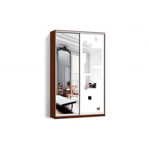 Шкаф-купе 2 двери Зеркало/Пескоструй рисунок 51 цвет Орех  Классик-2 100*200*45