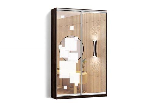 Шкаф-купе 2 двери Зеркало/Пескоструй рисунок 52 цвет Зебрано  Классик-2 100*200*45