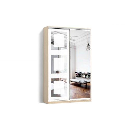 Шкаф-купе 2 двери Зеркало/Пескоструй рисунок 66 цвет Дуб молочный  Классик-2 100*200*45