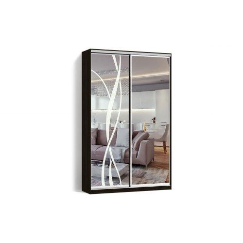 Шкаф-купе 2 двери Зеркало/Пескоструй рисунок 9 цвет Венге  Классик-2 100*200*45